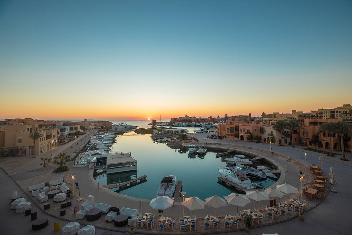 Der Hafen-in-El-Gouna bei Sonnenuntergang