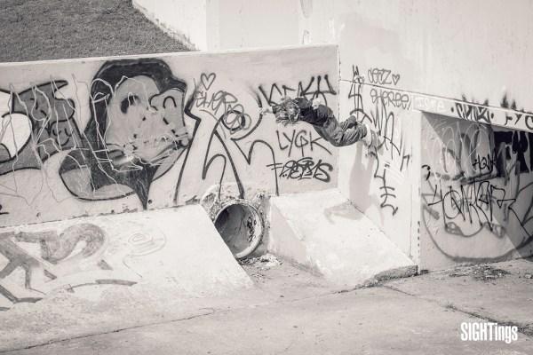 Mark Roberts, wallride before pipe around corner. Austin, TX. Photo: Dharam Khalsa