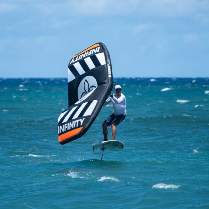 Infinity Fly Wing foil board tombstone on the water